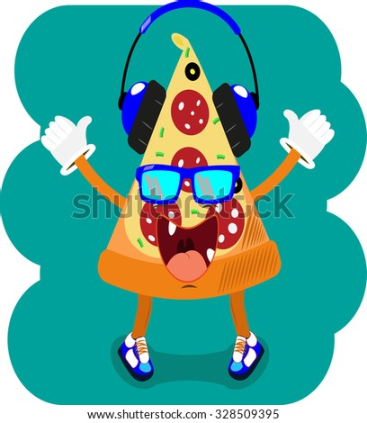 Cartoon pizza giving thumb up.pizza with headphones,cool character - stock vector