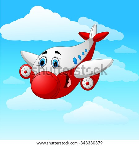 Cartoon plane character - stock vector
