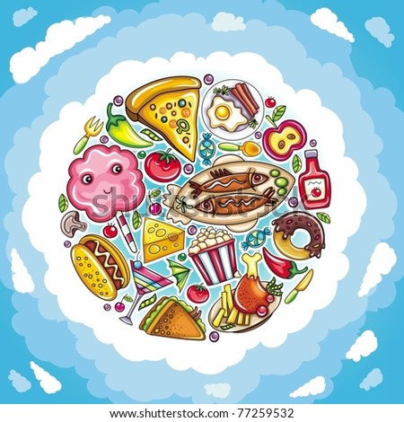 Cartoon planet of delicious and funny food - stock vector