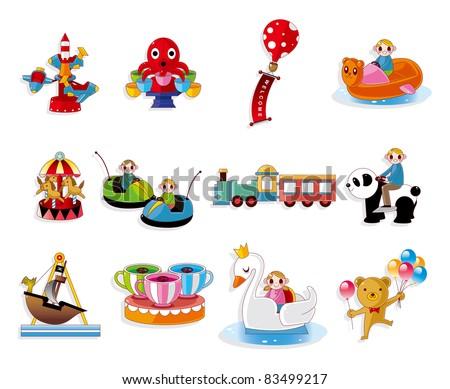 Cartoon Playground Equipment icons set - stock vector