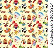 cartoon playground seamless pattern - stock vector