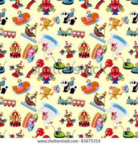 cartoon playground seamless pattern - stock vector