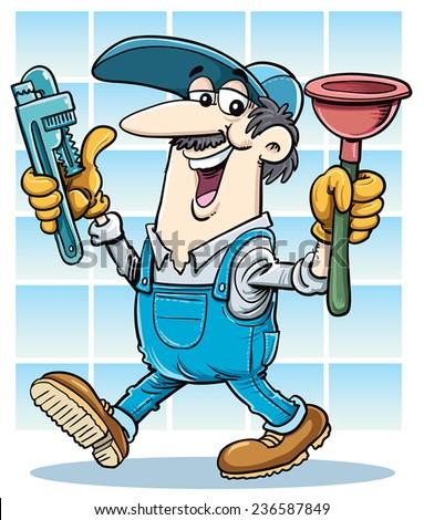 Cartoon plumber - stock vector