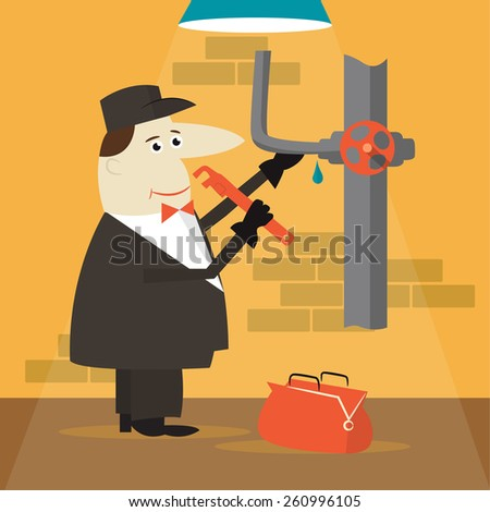 Cartoon plumber holding a wrench.  - stock vector