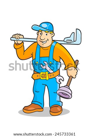 Cartoon plumber with a big wrench and plunger. Vector illustration.