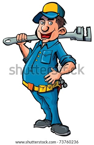 Cartoon plumber with a wrench. He is smiling