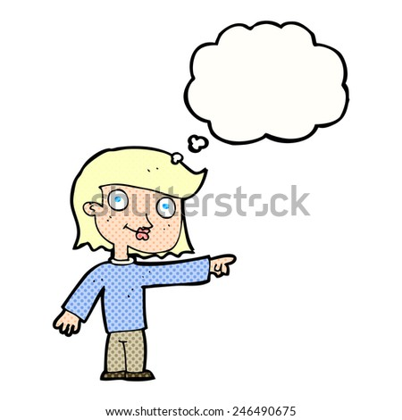 cartoon pointing person with thought bubble - stock vector