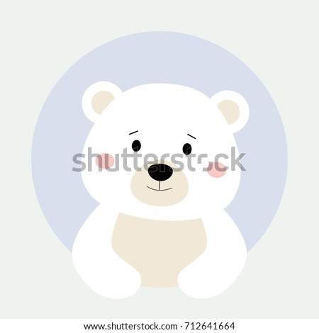 Cartoon Polar Animal Round Frame Cute Stock Vector (Royalty Free ...