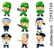 cartoon police and soldier  icon - stock vector