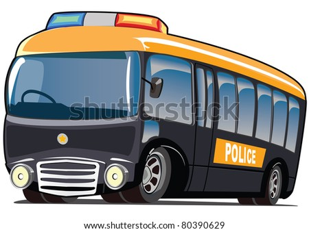 cartoon police mini bus