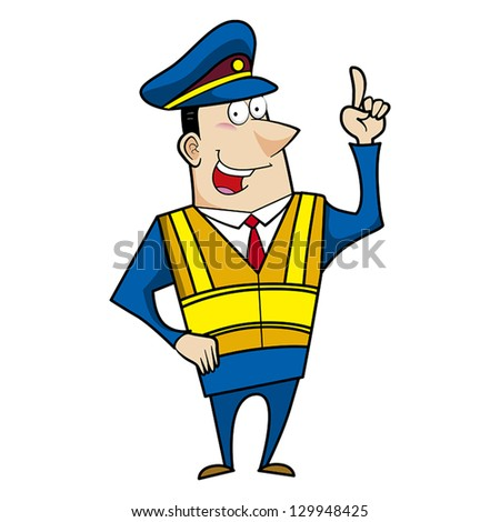 Cartoon police officer man with safety vest. - stock vector