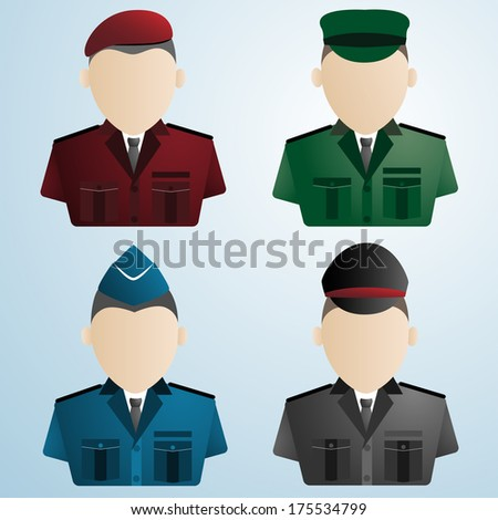 cartoon police soldier military : uniforms vector illustration - stock vector