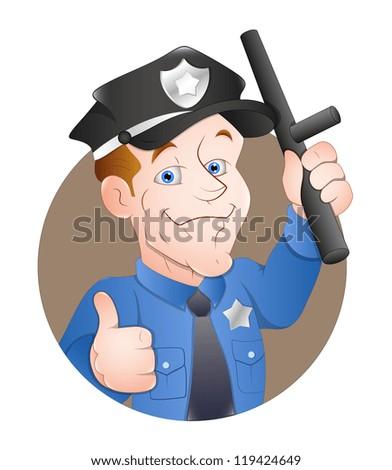 Cartoon Policeman - stock vector