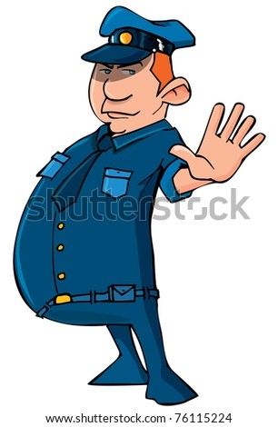 Cartoon policeman holding up his hand. Isolated on white - stock vector