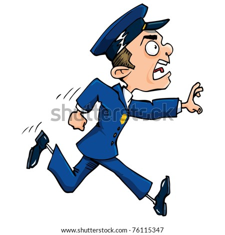 Cartoon policeman running calling out. Isolated on white. - stock vector