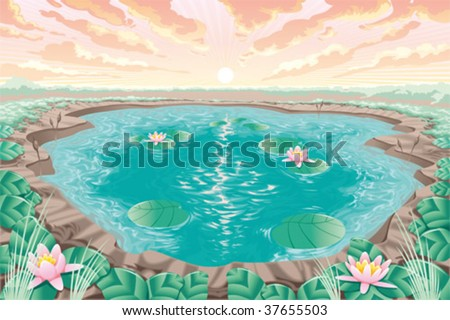 Cartoon pond with lotus - stock vector