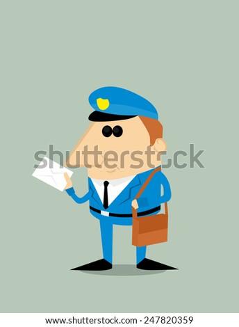 Cartoon postman - stock vector