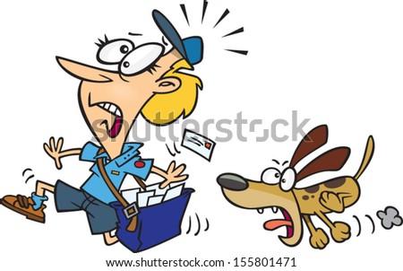 Cartoon postman running away from a dog - stock vector