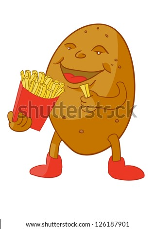 cartoon potato eating french fries - stock vector