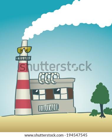 Cartoon power plant - stock vector