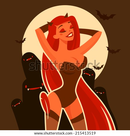 Cartoon pretty devil girl character - stock vector