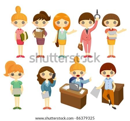 cartoon pretty office woman worker icon set - stock vector