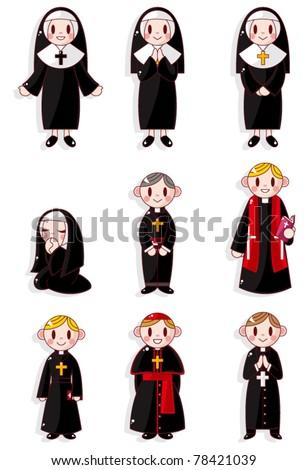 cartoon Priest and nun icon set - stock vector