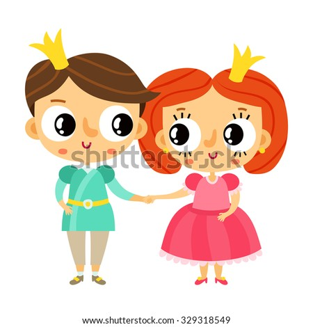 Cartoon prince and princess holding hands, cute vector characters isolated on white - stock vector
