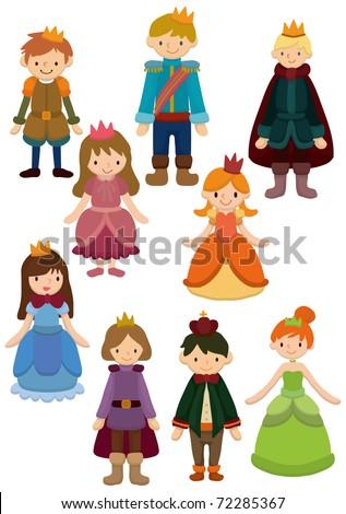 cartoon Prince and Princess icon - stock vector
