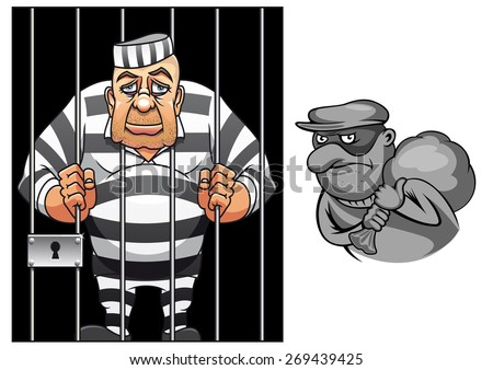 Cartoon prisoner in jail behind the bars in striped uniform and robber in mask with sack  for crime and punishment concept design - stock vector