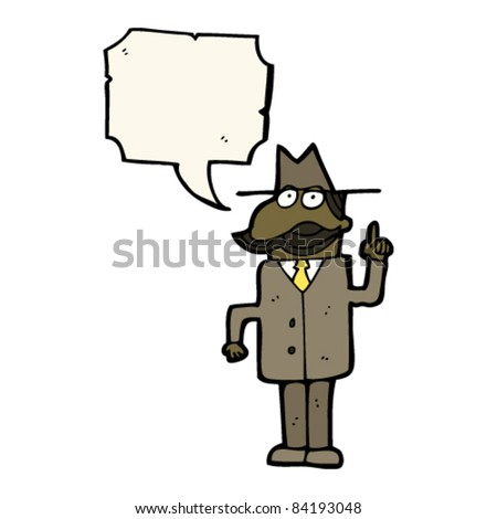 cartoon private detective with speech bubble