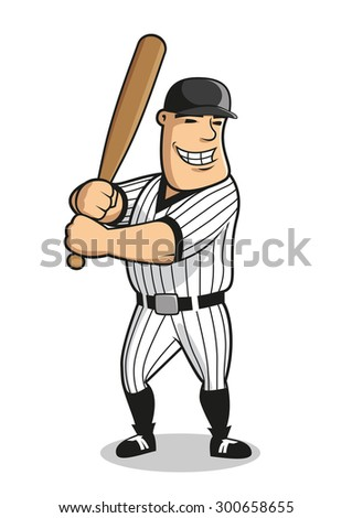 Cartoon professional baseball player character with bat, depicting muscular batter man in striped uniform and cap awaiting a pitch. For sports design - stock vector