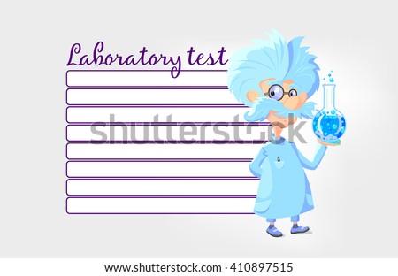Cartoon Professor laboratory test check list - stock vector