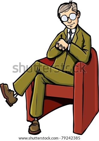 Cartoon psychiatrist sitting on his chair. Isolated on white - stock vector