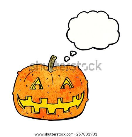 cartoon pumpkin with thought bubble - stock vector