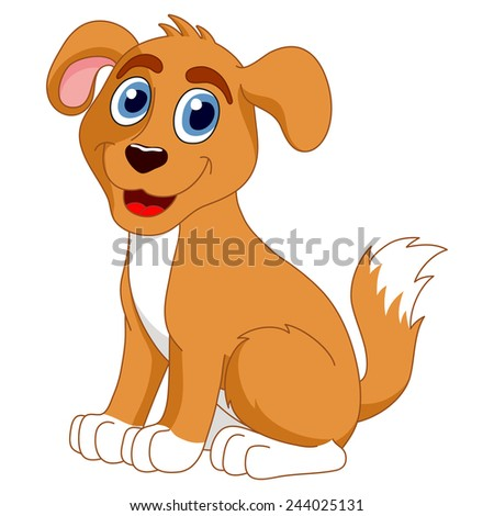 Cartoon puppy, vector illustration of cute dog - stock vector