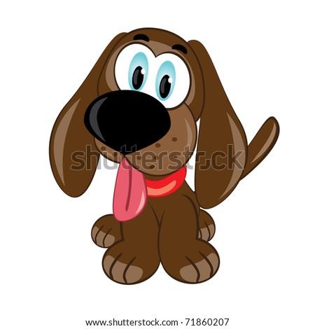Cartoon puppy. Vector illustration on white background - stock vector