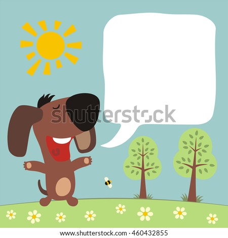 Cartoon puppy with bobble speech. Box for your text. Funny puppy in summer forest.