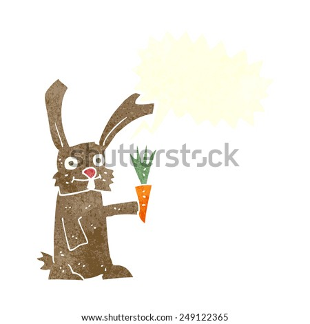 cartoon rabbit with carrot with speech bubble - stock vector