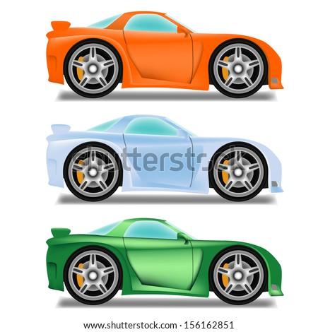 Cartoon race car with big wheels - stock vector