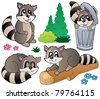 Cartoon racoons collection - vector illustration. - stock vector