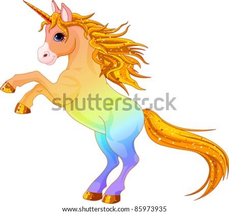 Cartoon  rainbow colored unicorn rearing up - stock vector