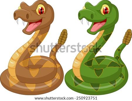 Cartoon rattlesnake - stock vector