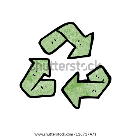 cartoon recycling symbol - stock vector