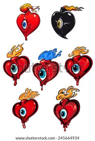cartoon red black hearts eye fire stock vector 245664934 shutterstock