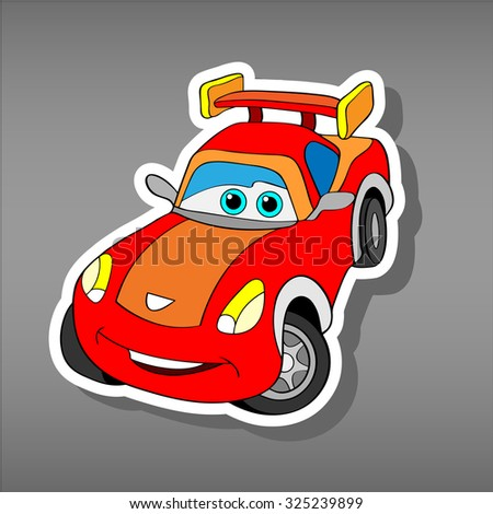 Cartoon red car sticker for boys.Vector illustration of doodle car for scrapbook.Transportation Doodle Background. Funny  smile car icon. Comic character for kids on grey background