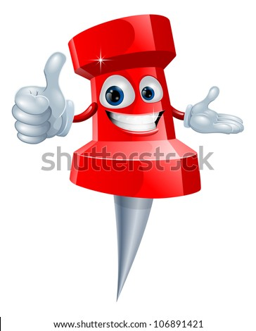 Cartoon red drawing pin man smiling and giving a thumbs up - stock vector