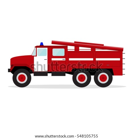 Cartoon Red Fire Engine. Emergency Transport Auto Firefighters Truck Flat Design Style Vector illustration