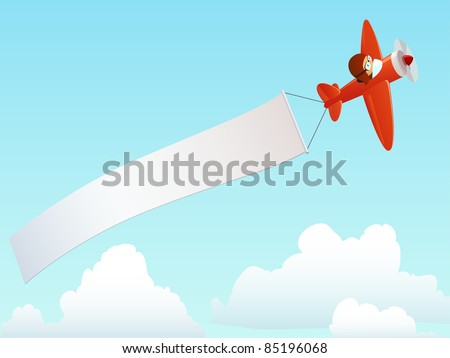 Cartoon red plane with pilot and advertising banner in the sky. Vector illustration. - stock vector
