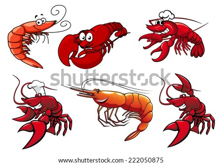 Cartoon red shrimp, crab and lobster characters with smiling faces and googly eyes isolated on white for seafood or another design - stock vector